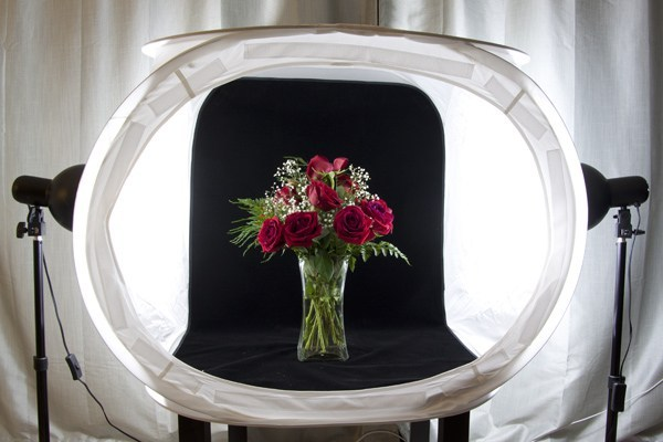 Photography tent with black background