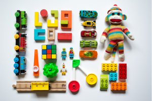 Product photos of toys